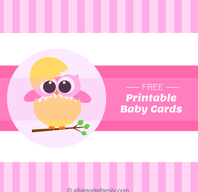 free printable baby announcement owl cards