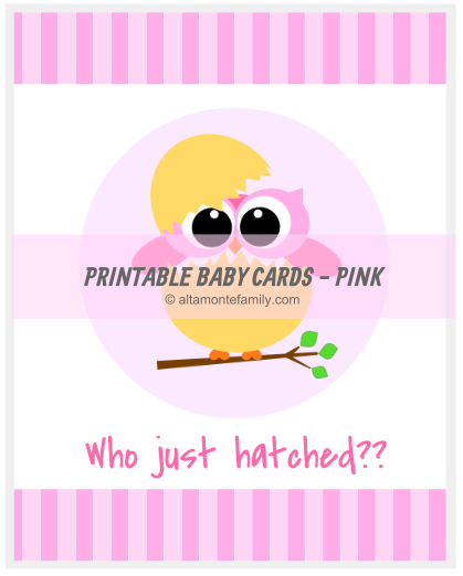 Printable Baby Card Pink Owl_For Web