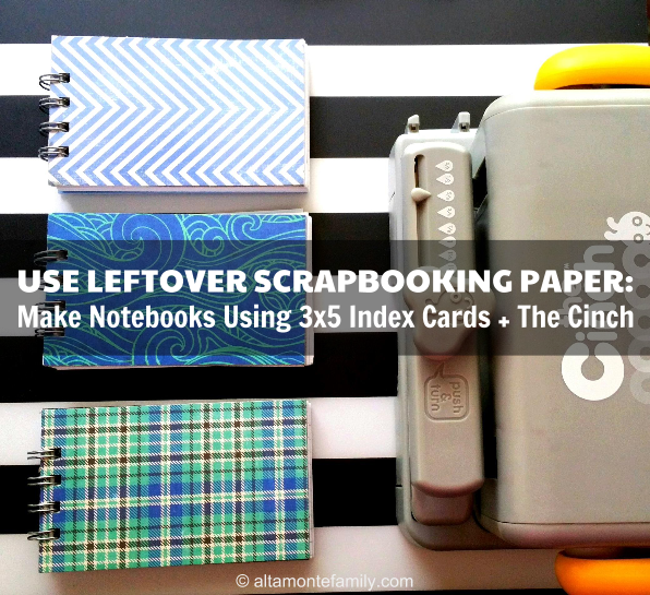 We R Memory Keepers Cinch Project Using Index Cards and Leftover Scrapbooking Paper