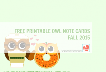 2 Free Printable Owl Note Cards – Fall 2015