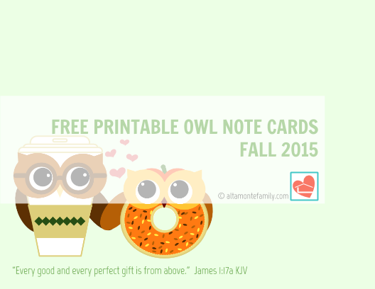 image regarding Printable Owls identified as Cost-free Printable Owl Take note Playing cards - Tumble 2015 Altamonte Loved ones