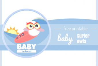 2 Free Printable Baby Announcement Surfer Owl Labels
