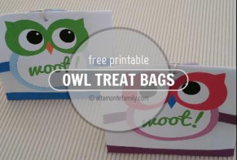 2 Free Printable Owl Treat Bags