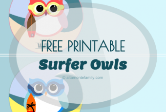 2 Free Printable Surfer Owl Labels {Catch The Wave Theme}
