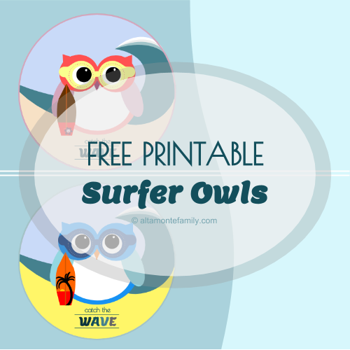 free printable surfer owl labels catch the wave