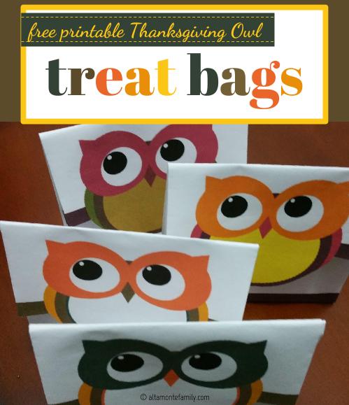 Free Printable Thanksgiving Owl Treat Bags