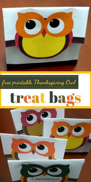 Free Printable Thanksgiving Owl Treat Bags 2015
