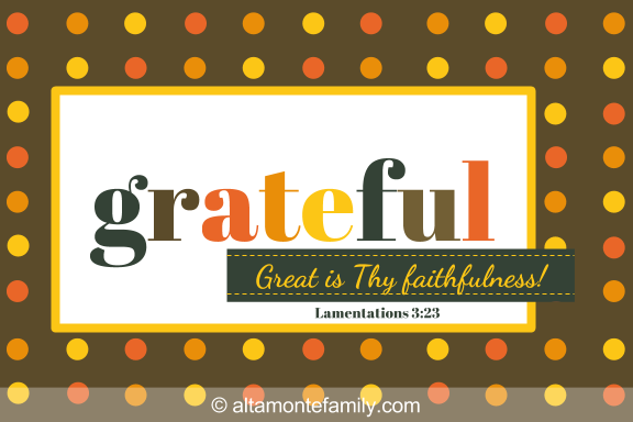 Printable Scripture Thanksgiving Card - Grateful 4x6 Patterned