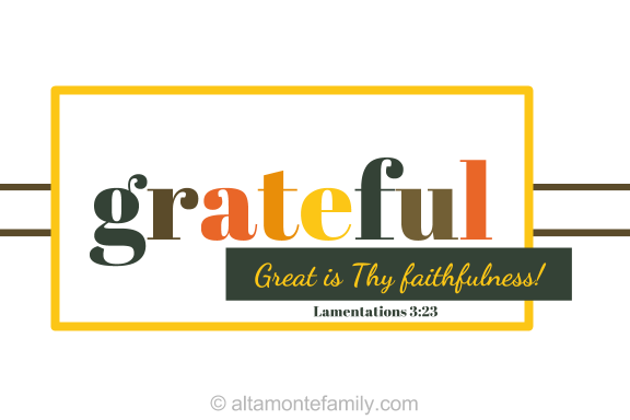 Printable Scripture Thanksgiving Card - Grateful