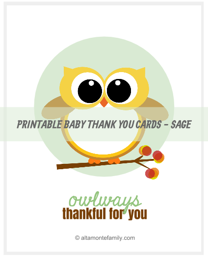 Free Printable Baby Owl Thank You Cards Altamonte Family
