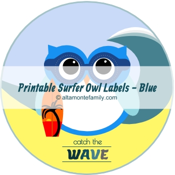 free printable surfer owl labels catch the wave blue