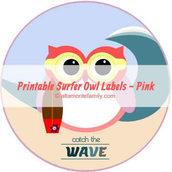 free printable surfer owl labels catch the wave pink