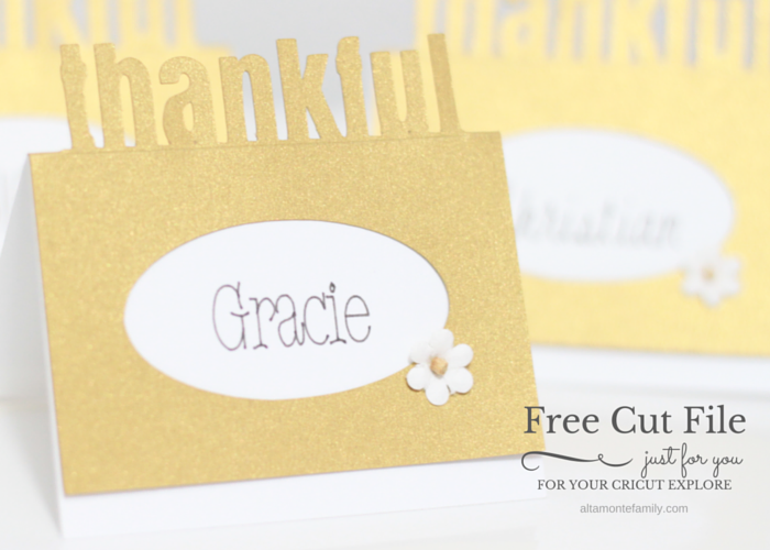 Cricut Explore Thanksgiving Place Card - Free Digital Cut File