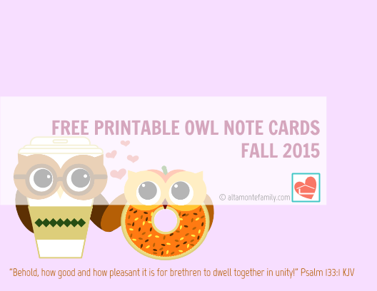 Free Printable Scripture Note Cards - Owls - Fall 2015
