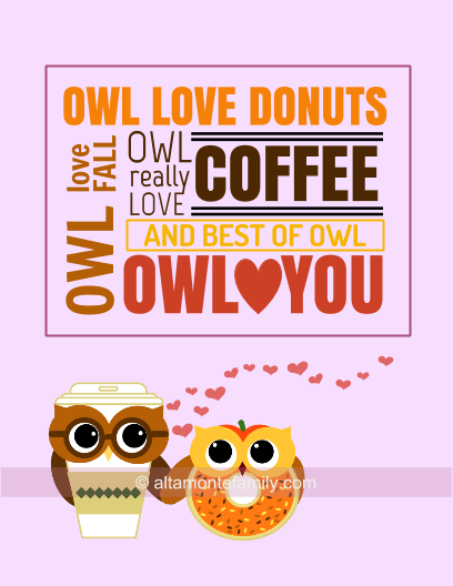 Free Printable Owl Love You Cards - Coffee Donut Owls - Fall 2015