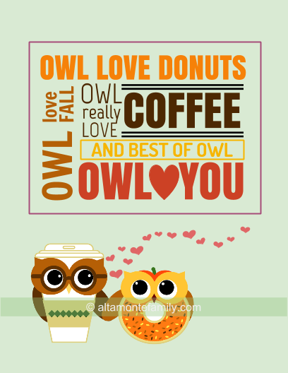 Free Printable Owl Love You Cards - Pumpkin and Donut - Fall 2015