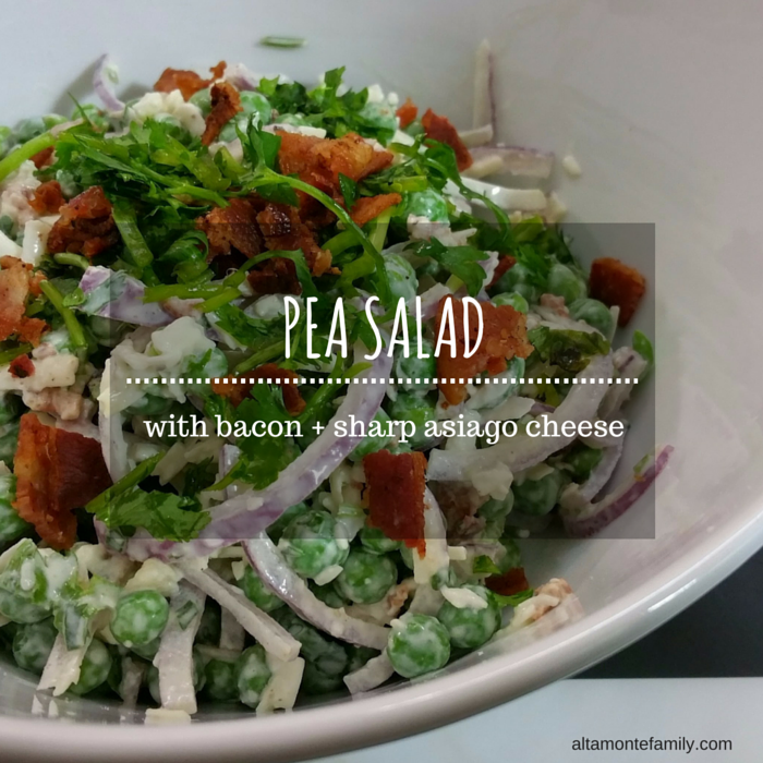 Pea Salad Recipe - with bacon and asiago cheese