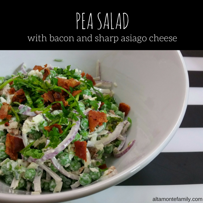 Pea Salad Recipe With Bacon And Sharp Asiago Cheese