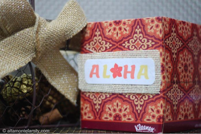 Kleenex box with printable Aloha label on burlap