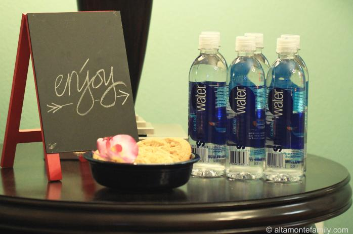 Make guests feel welcome with smartwater and cookies