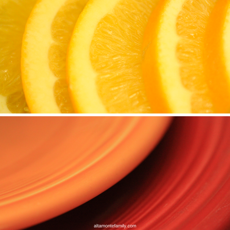 Oranges and Plates - Macro Photography