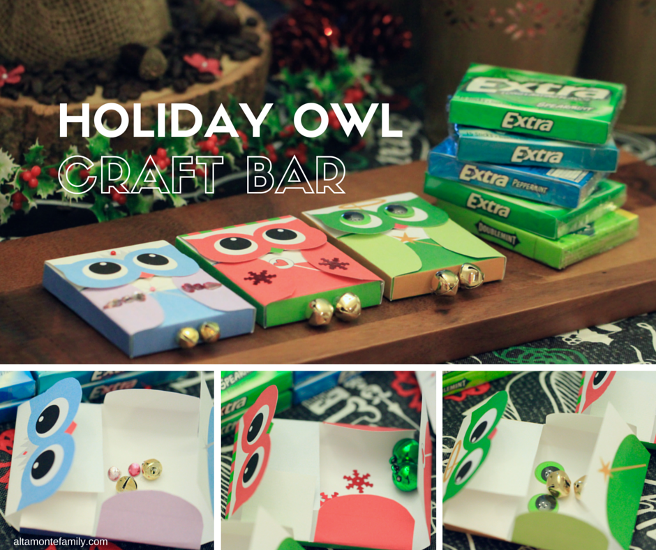 Holiday Owl Craft Bar plus Free Printable Gum Wrappers
