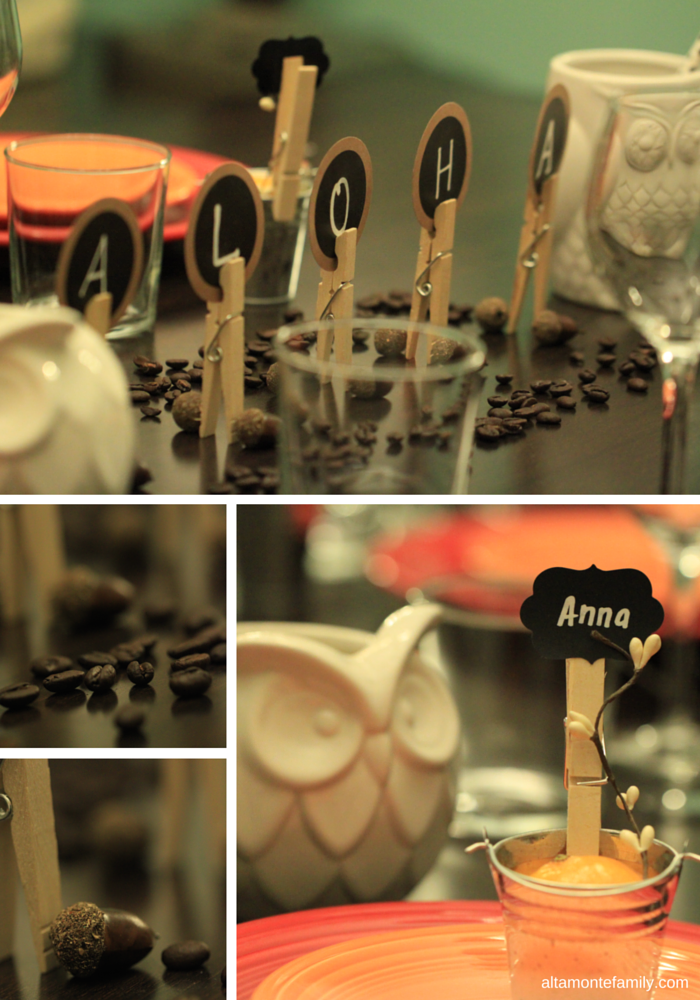 Thanksgiving Tablescape with chalkboard and clothespin place card holders and centerpieces