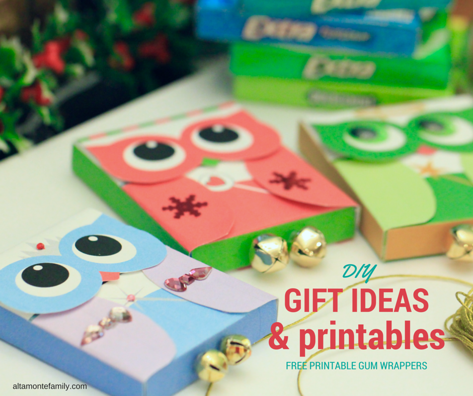 Diy holiday owl craft bar 3 free printable gum wrappers diy gift ideas and owl printables negle Images