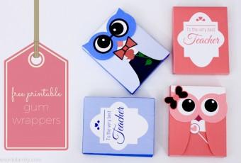 Free Printable Owls - Gum Wrappers - Valentines - Teacher Appreciation