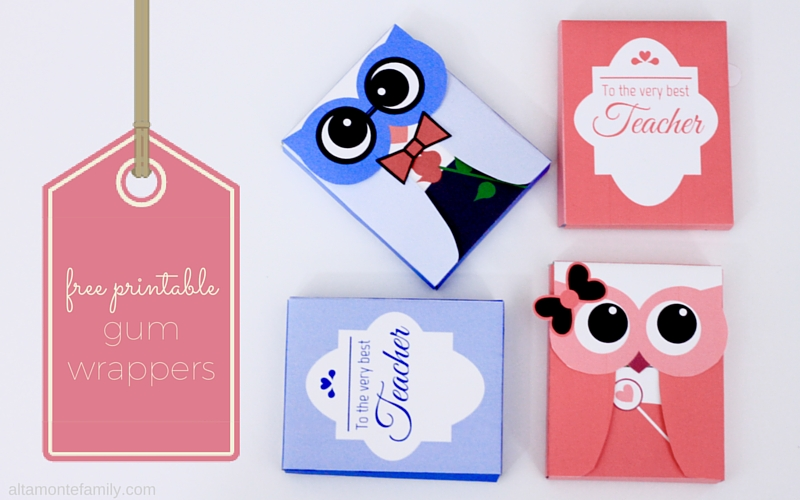 Free Printable Owls - Gum Wrappers - Valentines - Teacher Appreciation