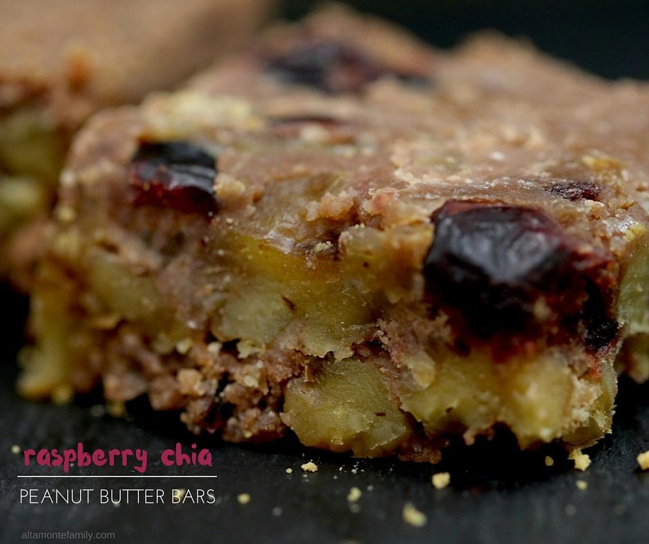 Raspberry Chia Peanut Butter Energy Bars