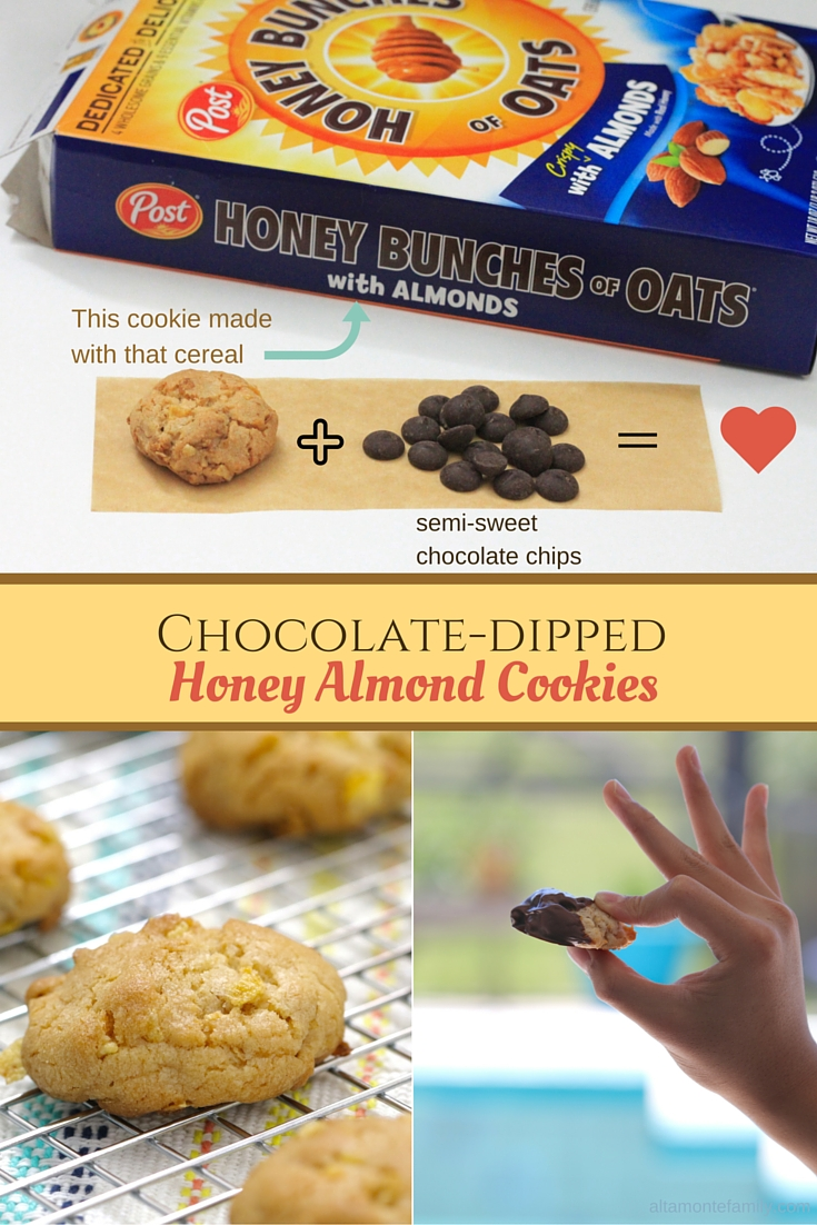 Chocolate-Dipped Honey Almond Cookies made with Cereal
