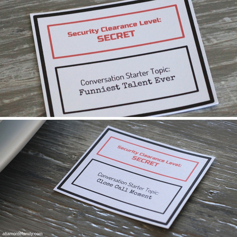 Mission Impossible Party Theme Free Printable Conversation Starters and Utensil Holders