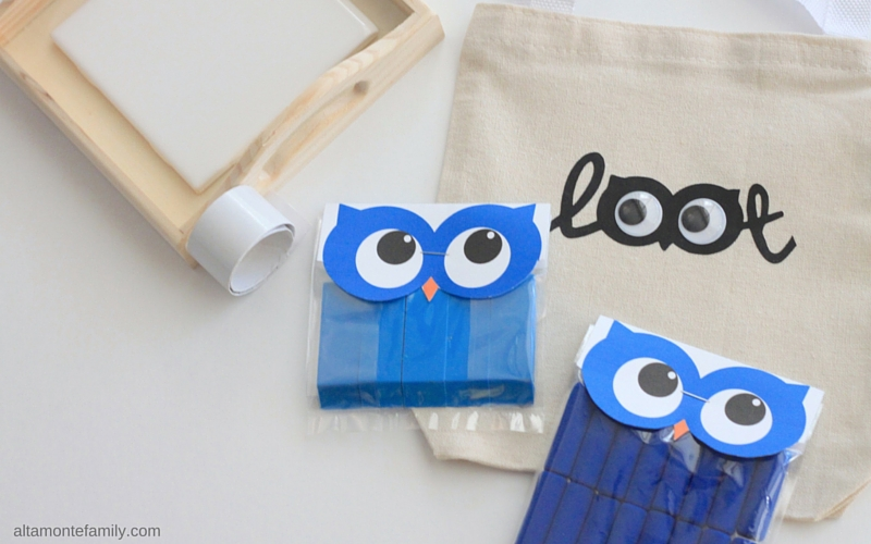 Free Printable Owl Bag Toppers - Blue