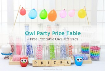 Owl Party Prize Table + Free Printable Owl Gift Tags