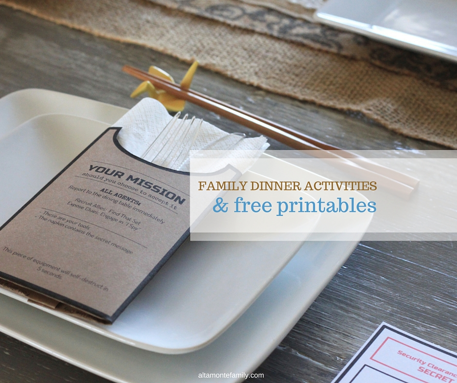 Free Printable Utensil Holders and Family Dinner Activities