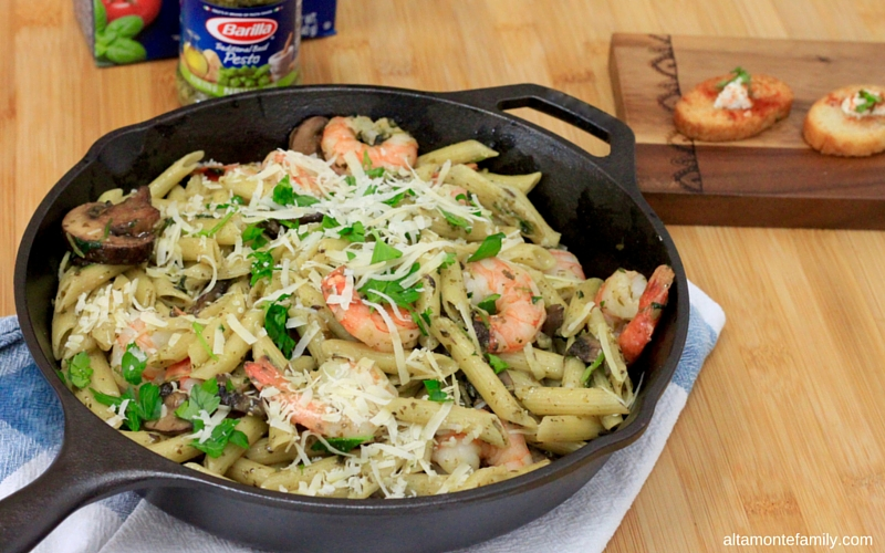 One Pan Shrimp Pesto Penne Pasta