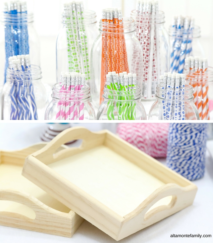 Oriental Trading Party Supplies - Colorful Pencils and Wooden Trays
