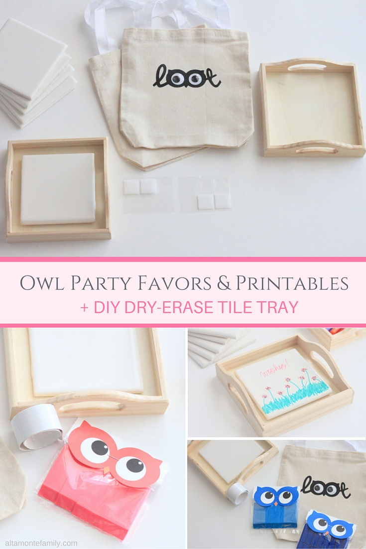 Owl Party Favor Ideas and Printables and DIY Dry Erase Tile Tray
