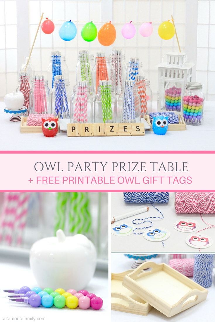 Owl Party Theme - Prize Table Ideas and Free Printables