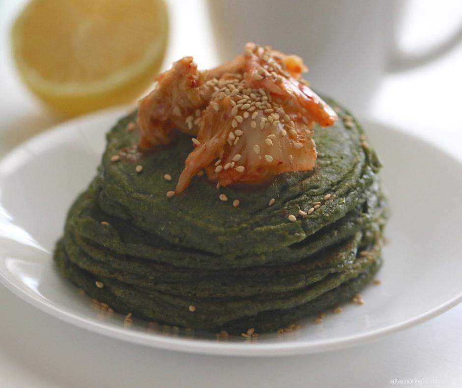 Savory Spirulina Pancakes - Green Protein Recipe
