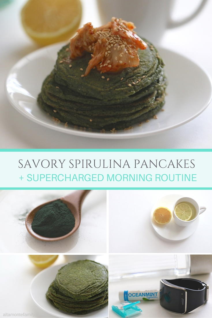 Savory Spirulina Pancakes - Supercharged Breakfast Routine
