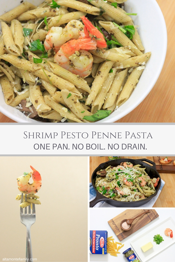 Shrimp Pesto Penne Pasta - One Pan - No Boil - No Drain