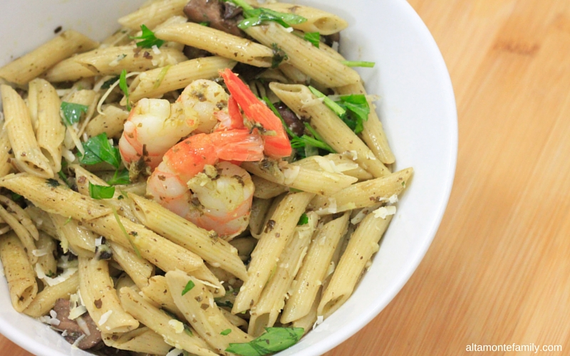 One Pan Shrimp Pesto Penne Pasta - One Pan - No Boil - No Drain