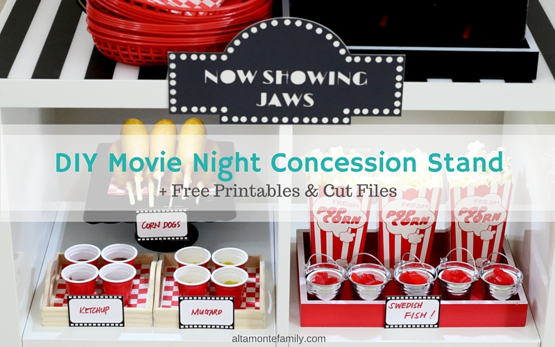 DIY Movie Night Concession Stand - Free Printables - Cricut Explore Cut Files