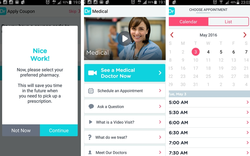 Doctor on Demand review - Android app call