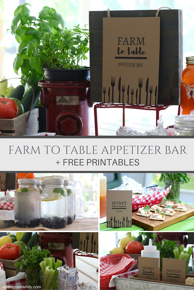 Farm To Table Appetizer Bar - Free Party Printables