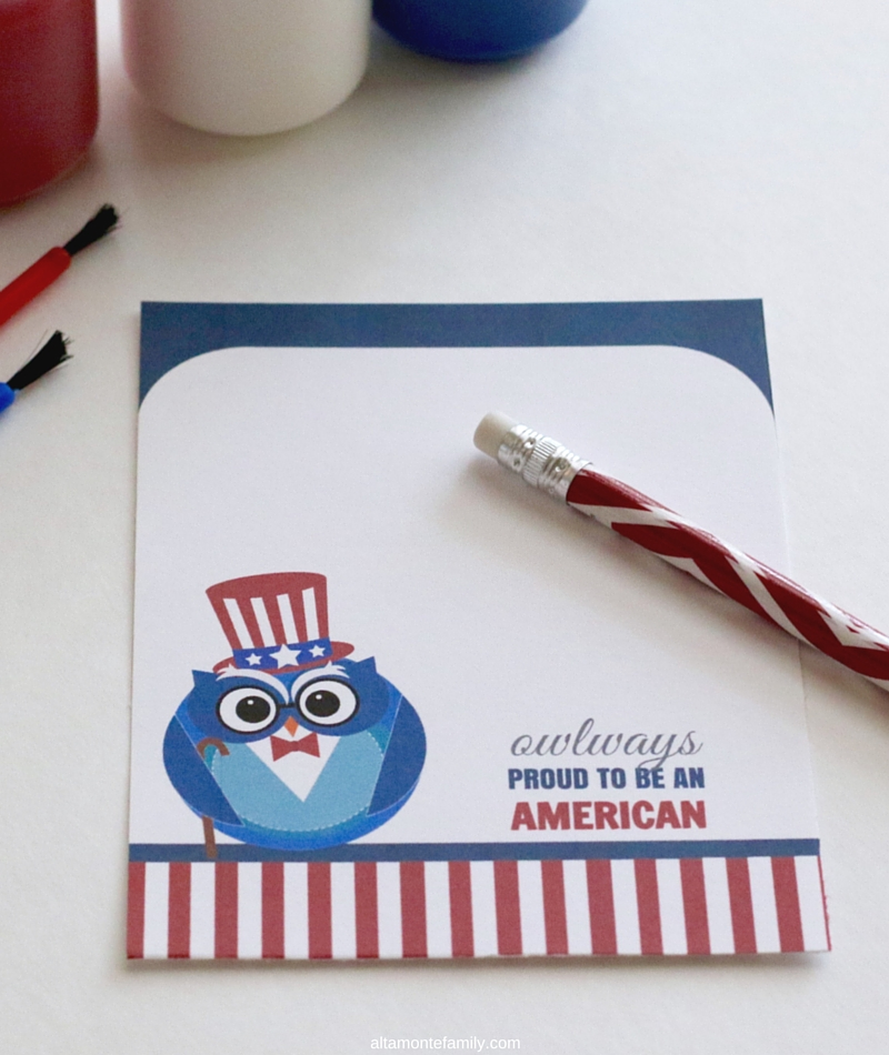 Free Printable Patriotic Owl-American Note Card