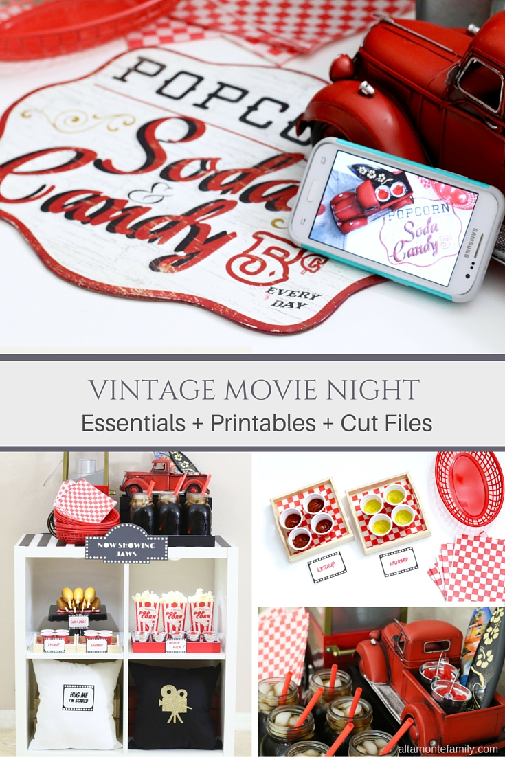 Vintaghe Movie Night Essentials Printables Cut Files and Templates
