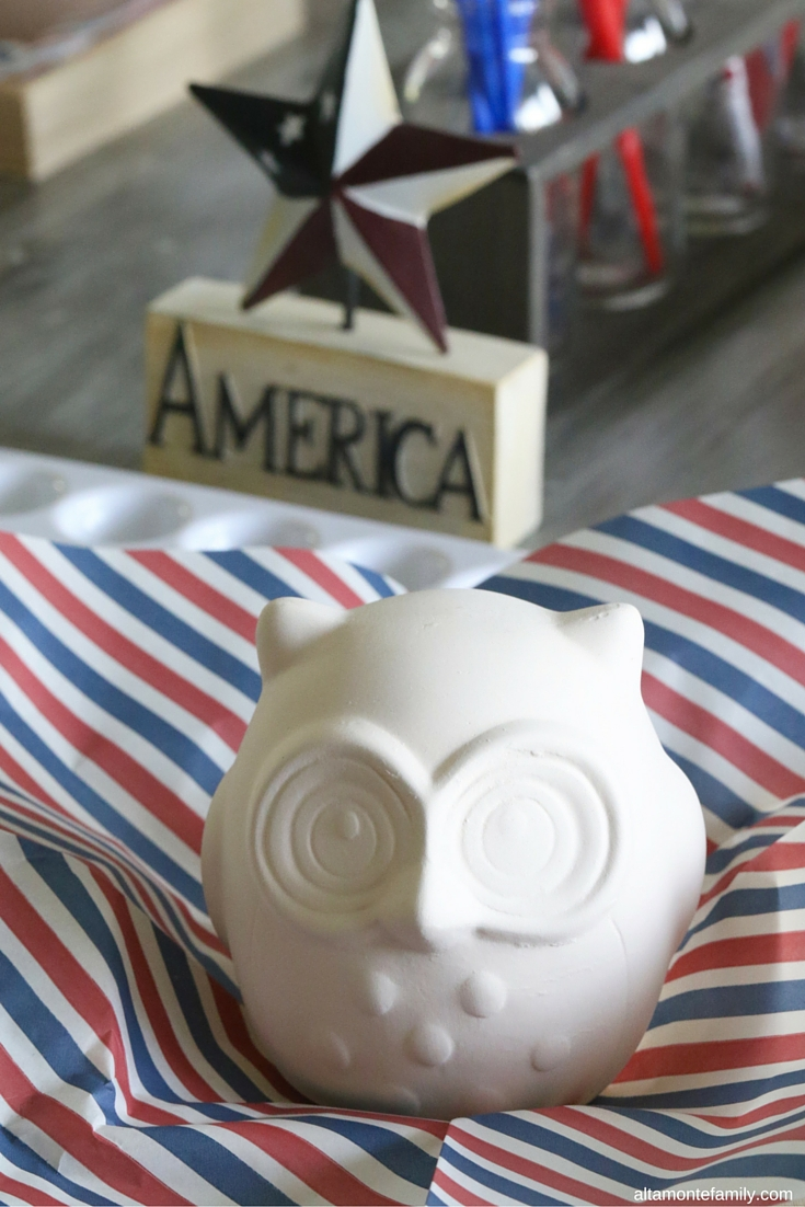 4th of July Crafts for Kids - Ceramic Owl Painting